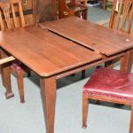 Antique Quarter Cut Oak Mission Style 41 Square Dining Table With 17 Insert Leaf Marked Extension