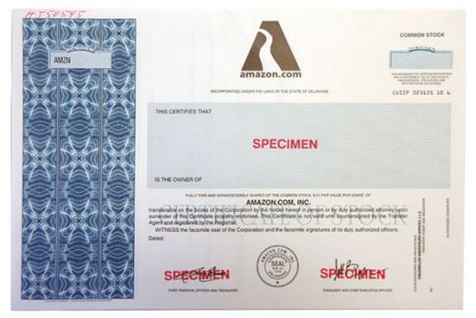 Amazon.com, Inc., 1996, Specimen Stock Certificate ...