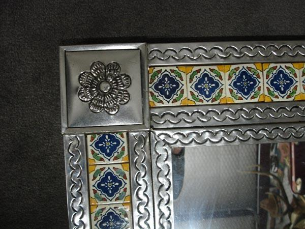 mexican tile tin framed mirror must be