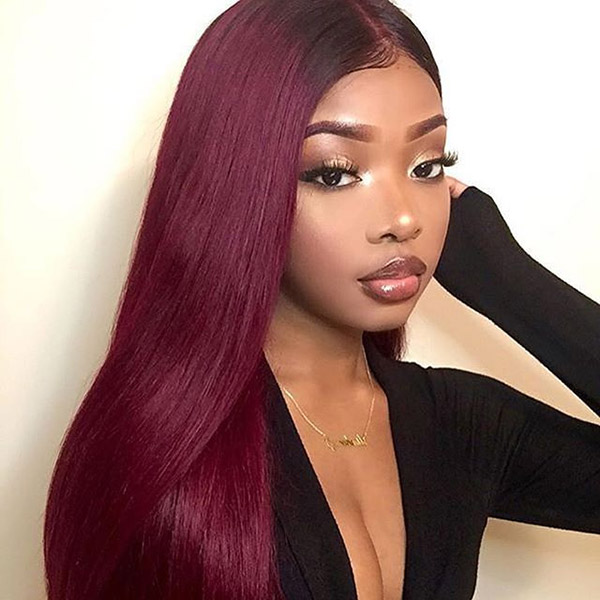 130 Density Lace Front Wig Color 1b 99j Ombre Straight