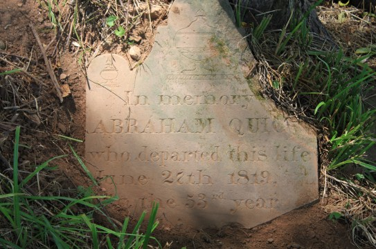The gravestone of Abraham Quick, John Quick's grandfather.