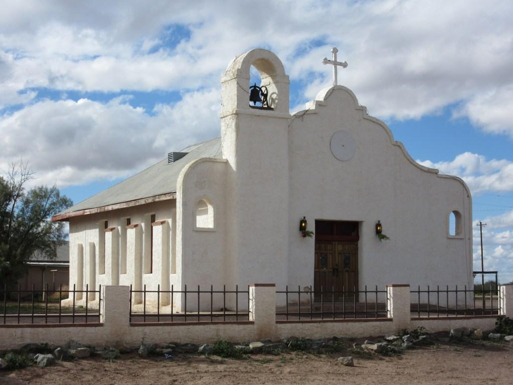 St Augustine village church Tohono O'odham near Chuichu West Cemetery Casa Grande AZ