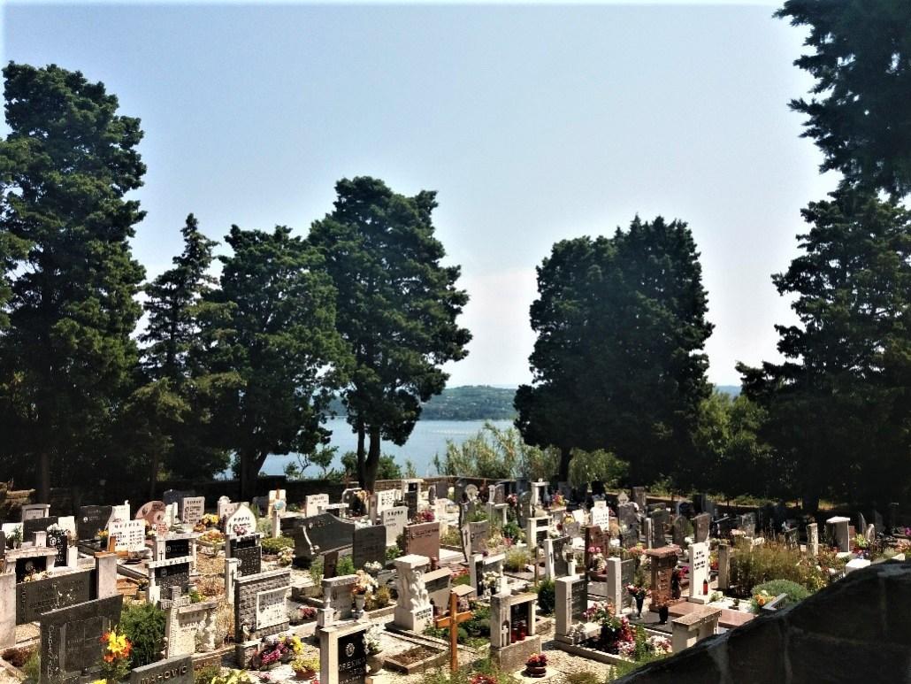 Pokopališče Piran Cemetery overlooking the adriatic
