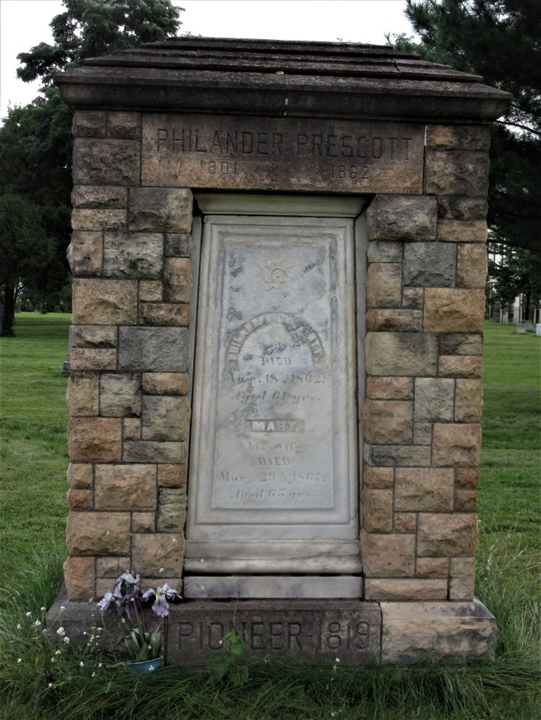 Minneapolis Pioneers and Soldier Memorial Cemetery gravemarker for Philander Prescott