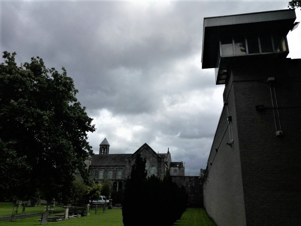 church of the sacred heart and arbour hill prison overlooking Arbour Hill Cemetery Dublin