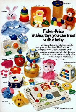 1980 Fisher-Price 8 page booklet page 2 featuring baby toys Security Bunny Blanket, Lolly, Activity Center, Freddy Bear, Happy Apple, Henry Hippo Rock a Stack Three Men in a tub Chime Ball