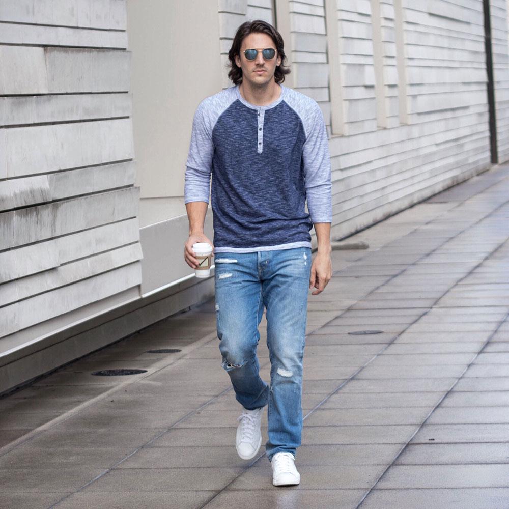 @Dylanbenjam Instagram Male Fashion Blue Baseball Henley and Distressed Denim