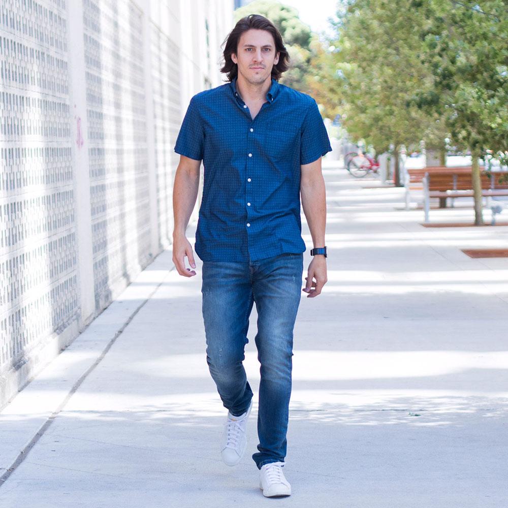 Dylanbenjam Instagram Male Fashion Blue Button Up Shirt