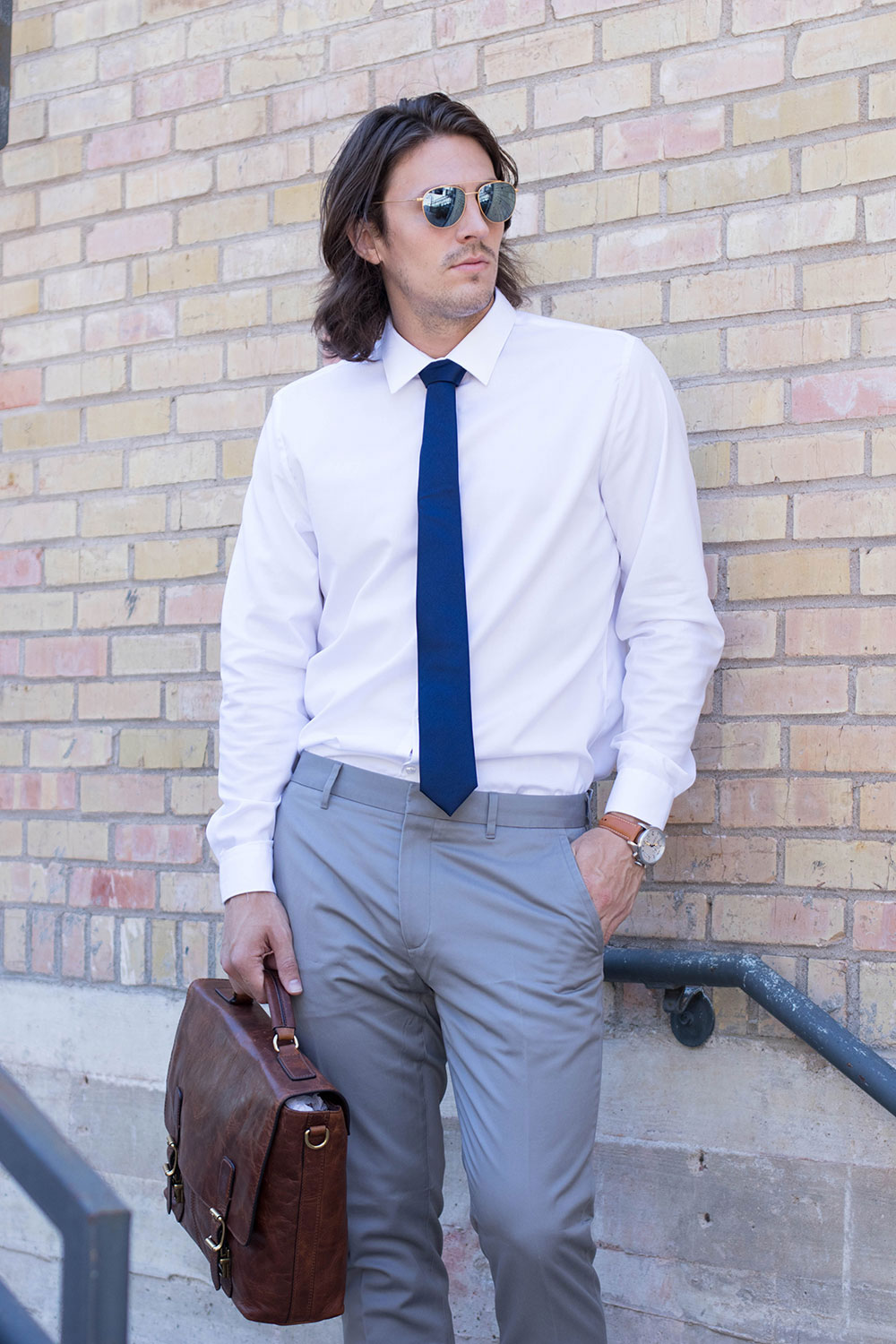 White Shirt, Blue Tie, Brown Shoes, Leather Bag