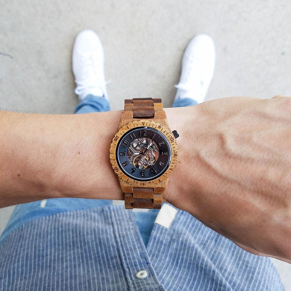 Jord Wood Watch Black Skeleton