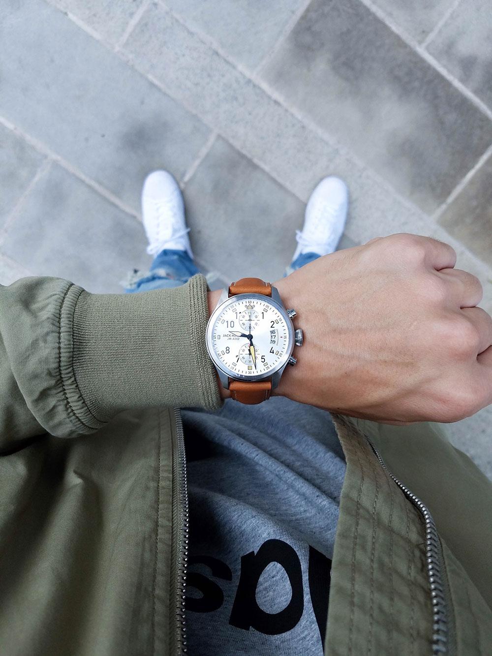 Jack Mason Watch + Adidas Shirt + Green Jacket