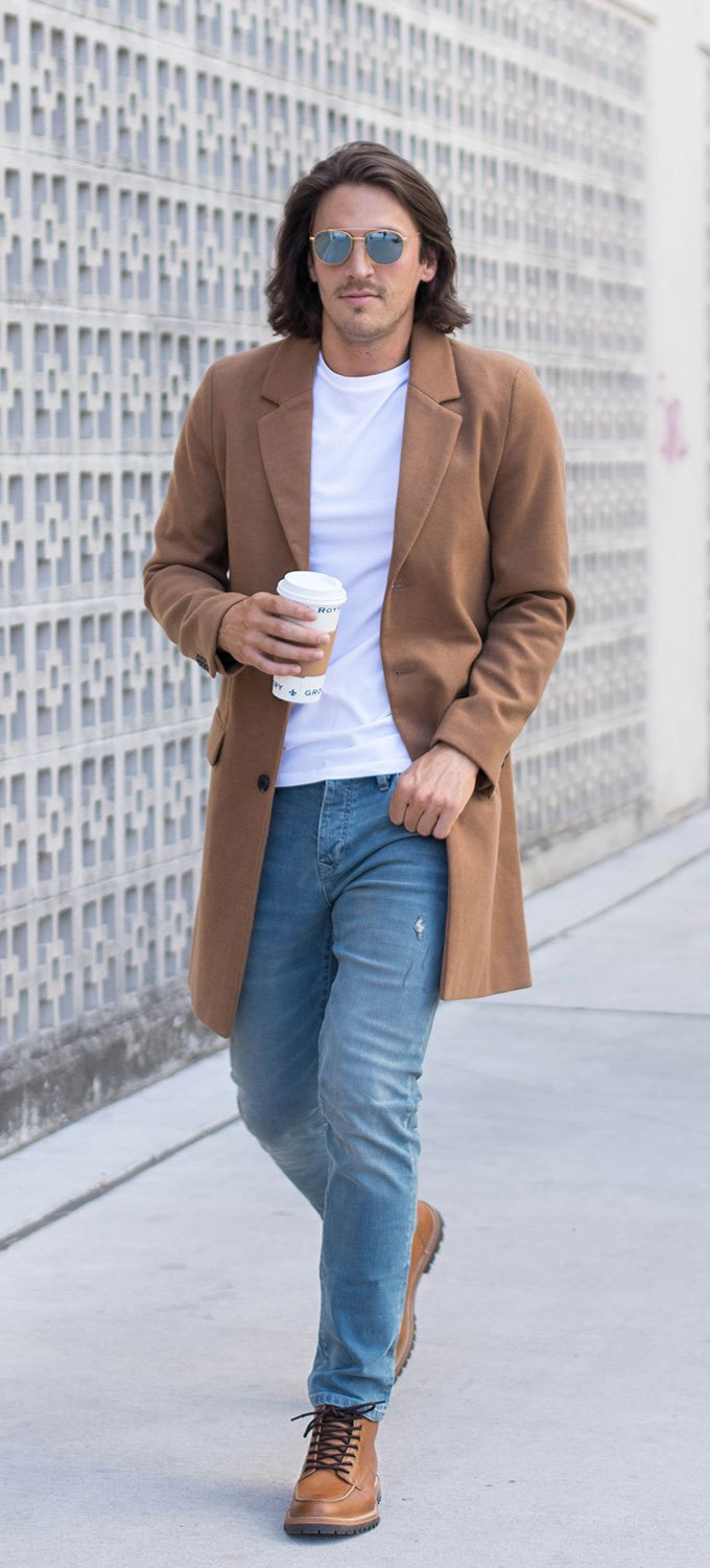 Mens Camel Overcoat with Jeans and Brown Shoes 3