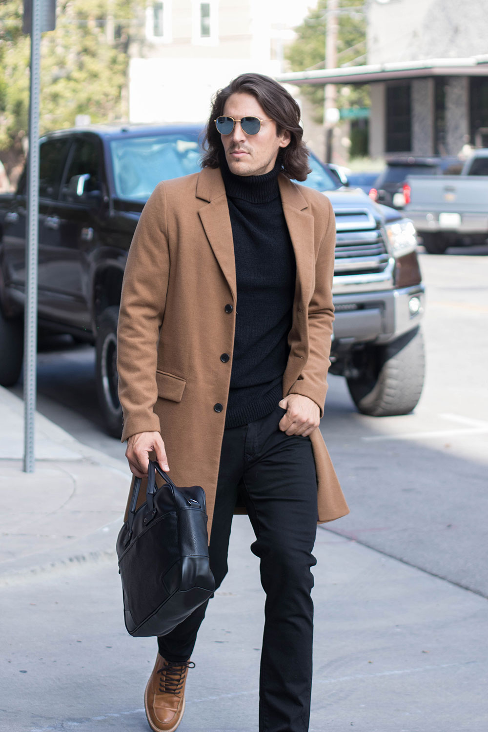 Mens Camel Overcoat with Black Sweater, Black Jeans and Brown Shoes 2