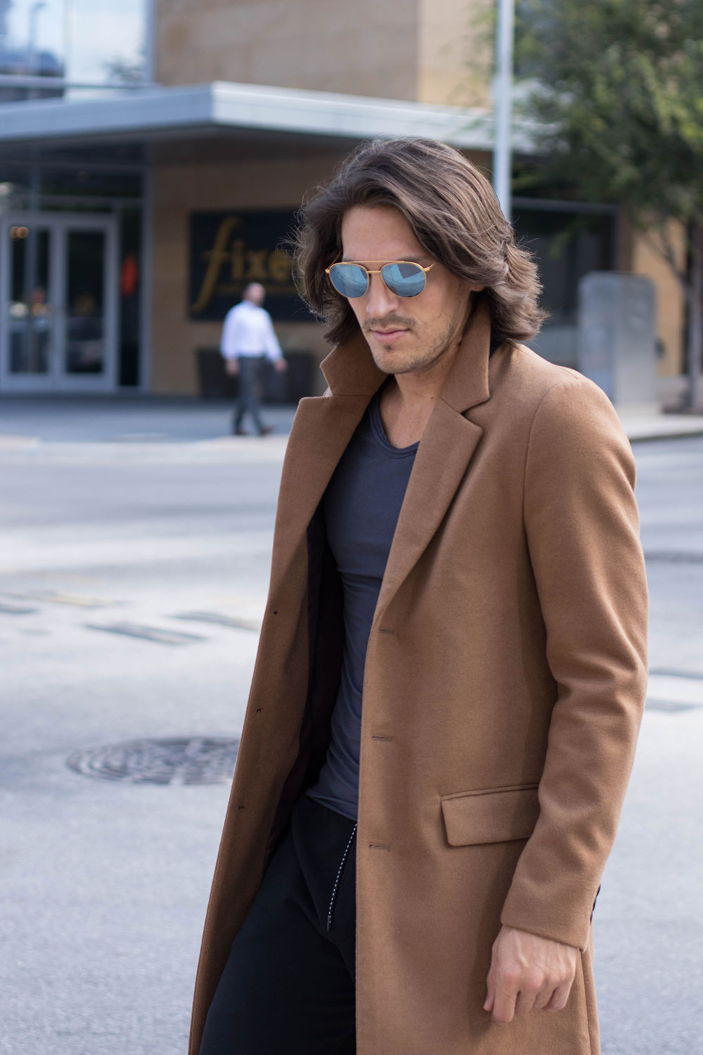 Mens Camel Overcoat with Grey Tee, Black Joggers and White Sneakers