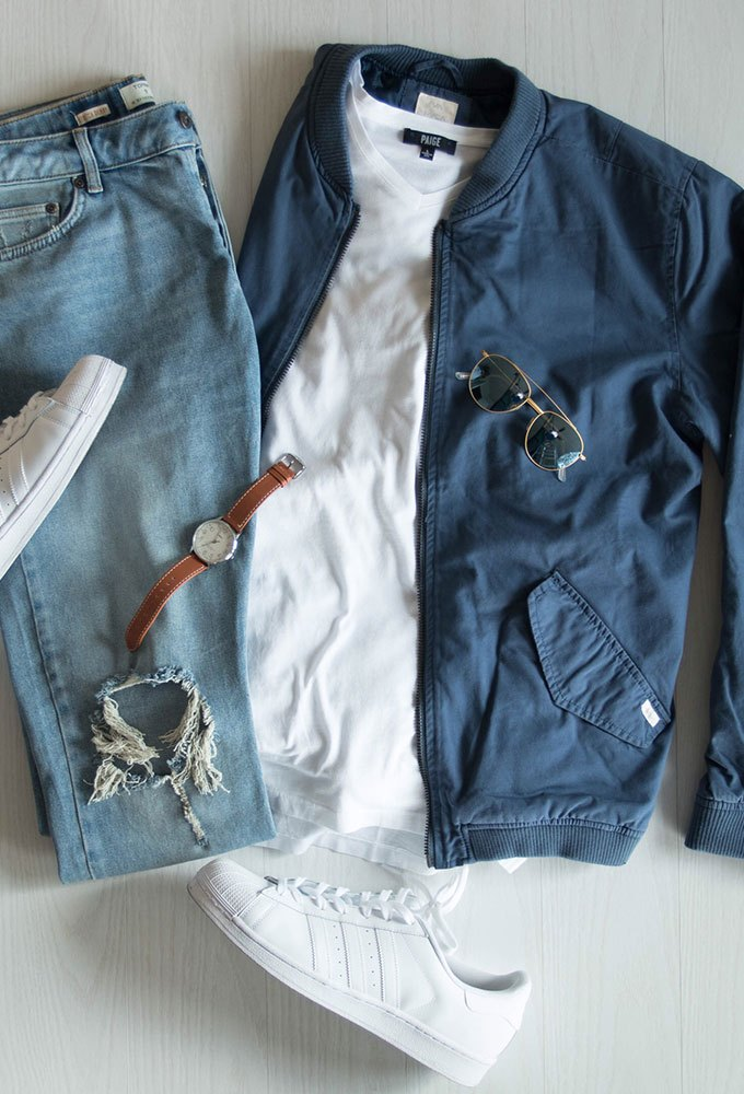 Blue Bomber Jacket Flat Lay