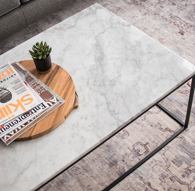 White Marble Coffee Table with Steel