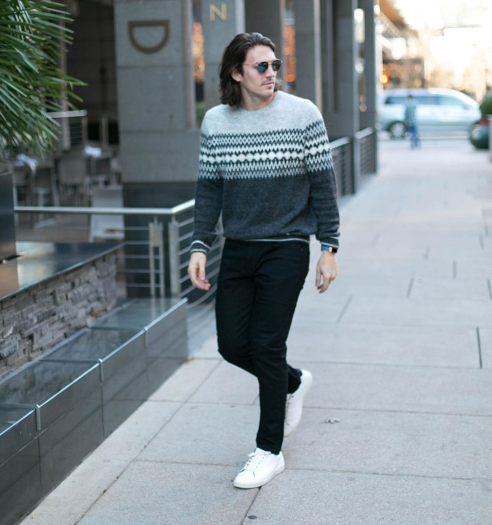 Grey Sweater, Black Jeans and White Sneakers 1