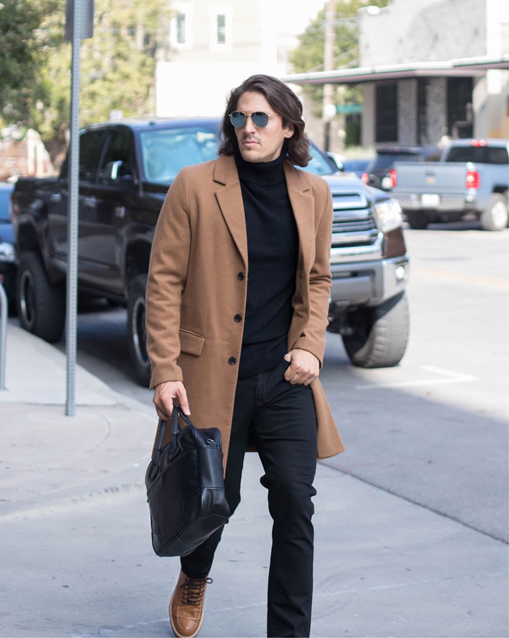 Camel Overcoat with Black Roll Top Sweater Black Jeans and Boots