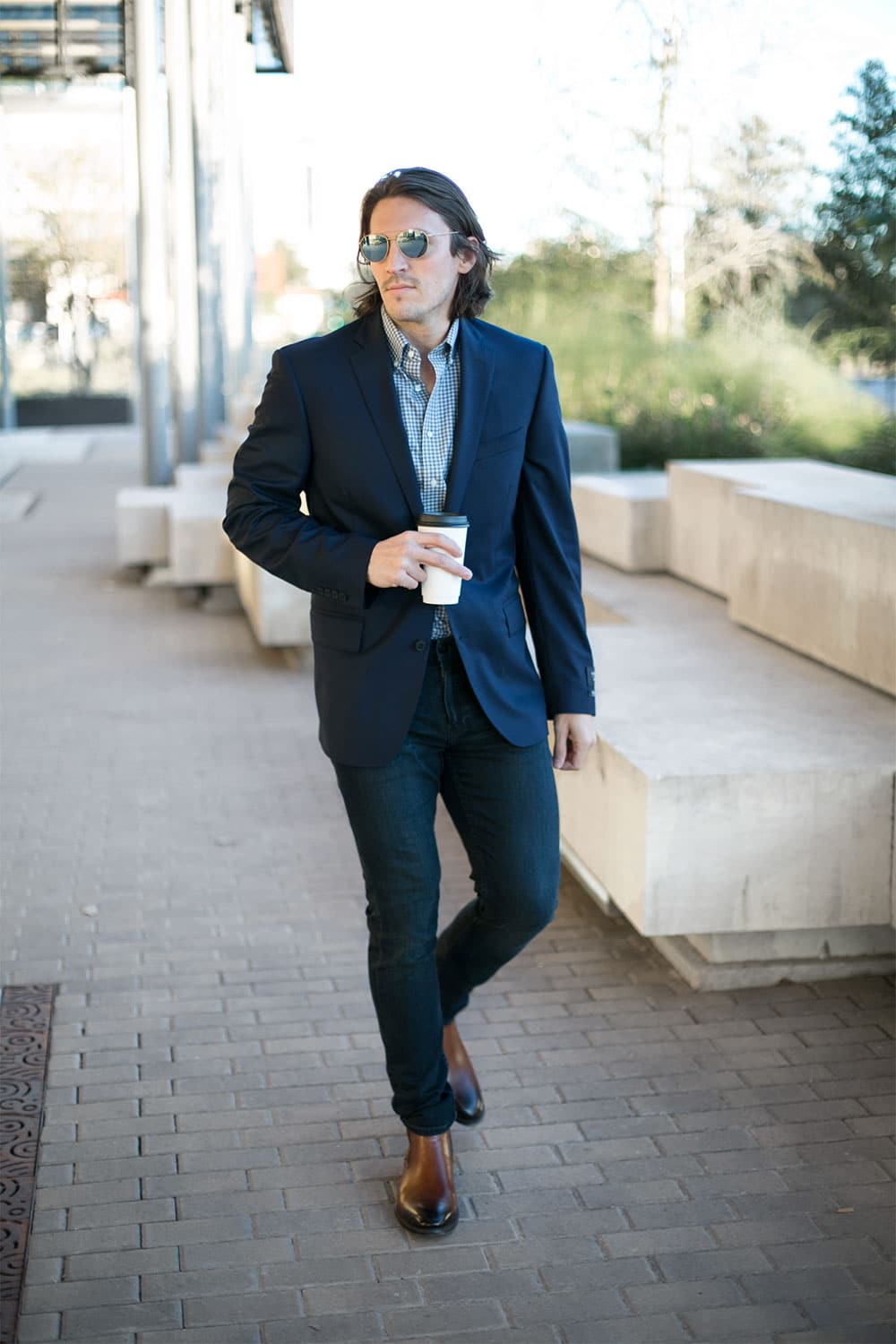 Navy suit with Gingham blue non iron dress shirt and burnished toe chelsea boots