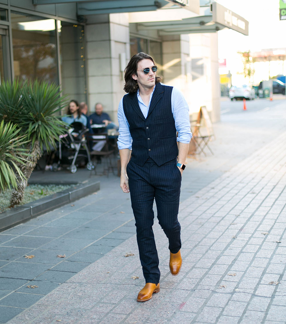 Nifty Genius Navy Striped Vest and Pants with Linen Shirt and R. M. Williams Burnished Toe Chelsea Boots