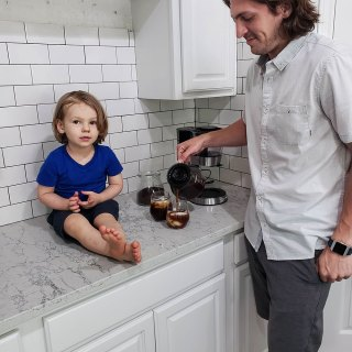 Noah and Dylan Enjoying some Cold Brew