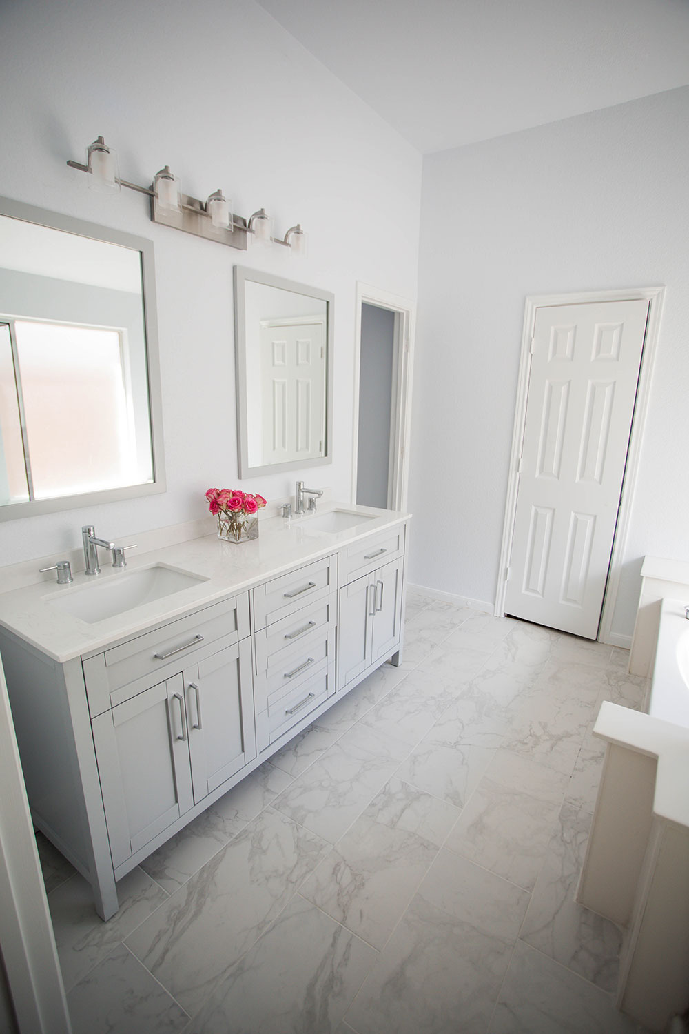 After AllModern White Bathroom Renovation