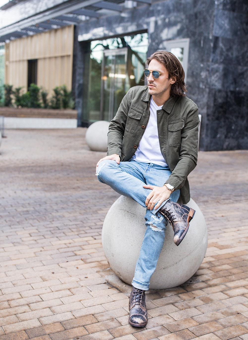 Mens Green Military Jacket - White V Neck Tee - Distressed Denim - Black Distressed Boots BED | STU