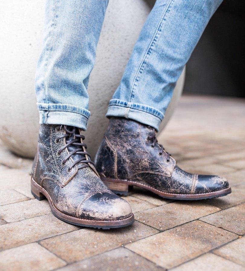 Men's Distressed Denim - Black Distressed Boots BED   STU