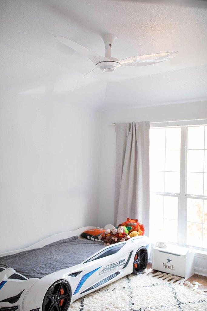 White Aluminum Haiku Fan Kids Room