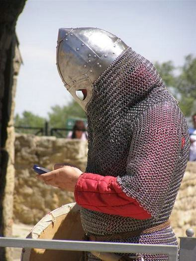 Knight sending a text message