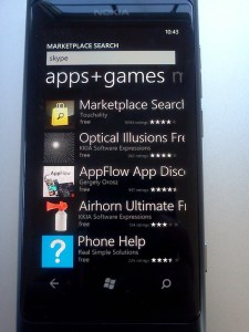 """Windows Phone Marketplace search for """"skype"""""""