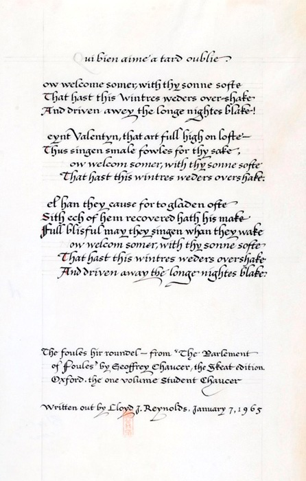 Lloyd Reynolds calligraphy