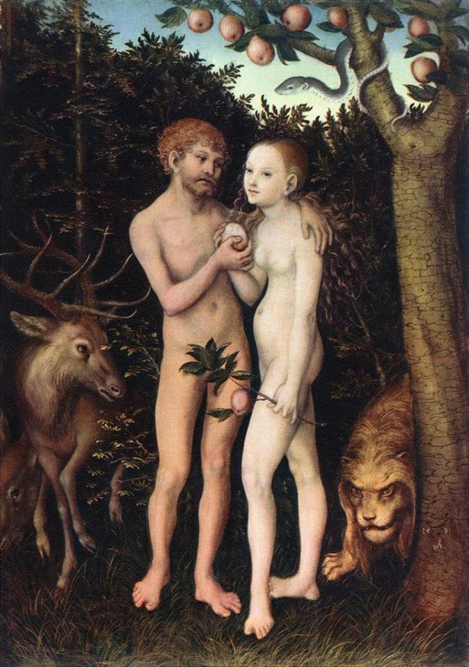 """Hot nude action, medieval style. Painting of """"Adam and Eve"""" by Lucas Cranach the Elder, from 1533."""