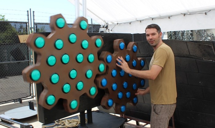 Two Bit Circus founder Brent Bushnell with an interactive game.