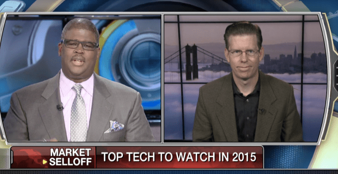 Screenshot of Dylan Tweney on Fox Business talking to Charles Payne.