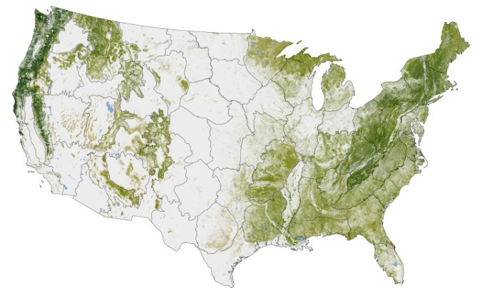 Where the trees are, from the NASA Earth Observatory