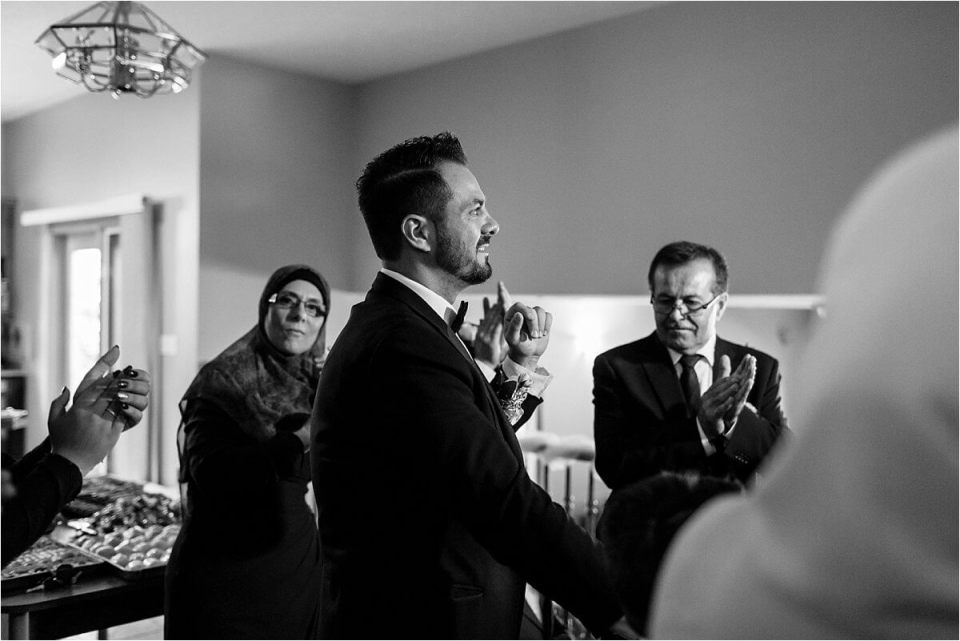 Groom waiting for bride to arrive - Woodstock London Ontario Lebanese middle eastern arab Wedding and engagement photos - Dylan Martin Photography