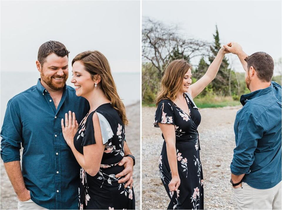 man with beard and blue dress shirt dancing on the beach shore with his fiancé in a floor dress - London Stratford Cambridge Woodstock Wedding Photographer by Dylan and Sandra of Dylan Martin Photography