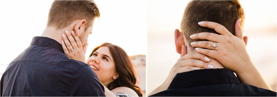 pear shaped diamond engagement ring pictures on the beach - London Stratford Cambridge Woodstock Wedding Photographer by Dylan and Sandra of Dylan Martin Photography
