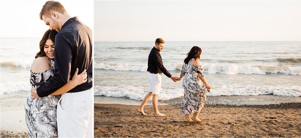 man and woman walking on the sandy beach shore holding hands - London Stratford Cambridge Woodstock Wedding Photographer by Dylan and Sandra of Dylan Martin Photography