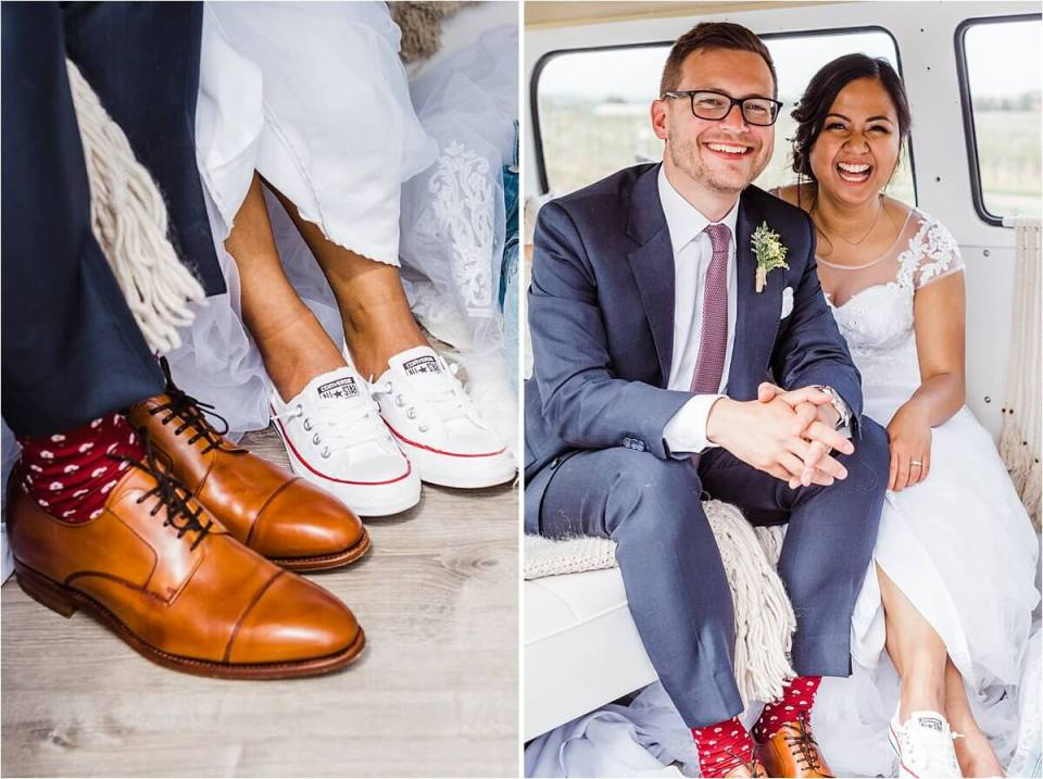Bride and groom laughing in their Volkswagen kombi wearing converse shoes - Dylan and Sandra of Dyan Martin Photography for Weddings and Engagement candid photographer in London, Cambridge, Stratford and Woodstock Ontario