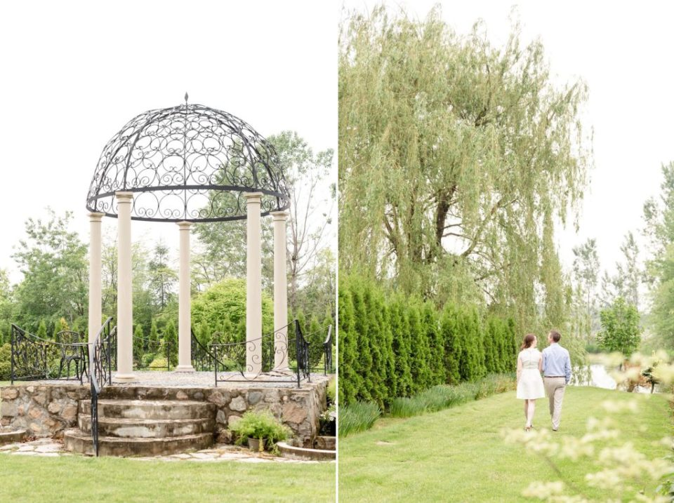 Couple walks under a large willow tree holding hands at Whistling Botanical Gardens