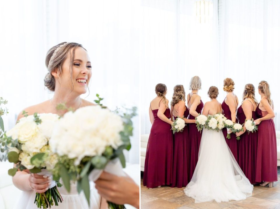 Bride and her girls facing away from the camera showing off their flowers from Floral Occasions Ingersol