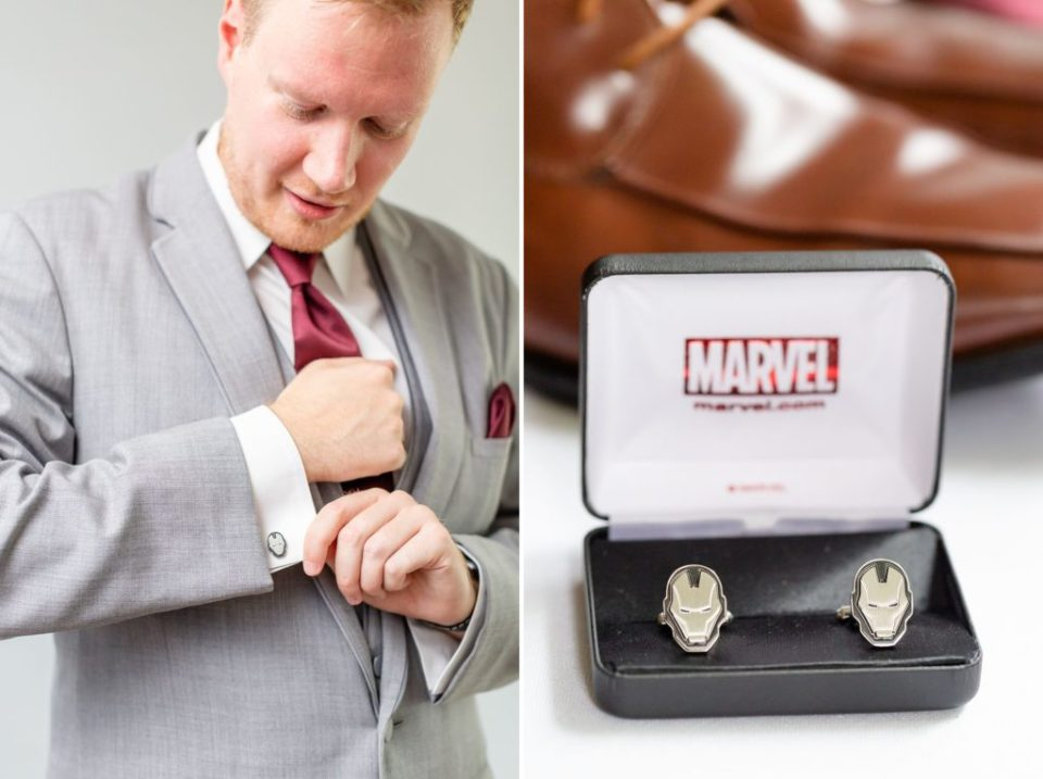 Groom showing off his Marvel Iron Man Cufflinks for his wedding