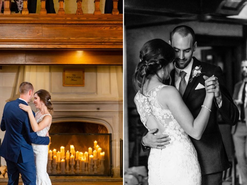 Newly married couple shares their first dance in front of the fire place in the grand hall of Windermere Manor