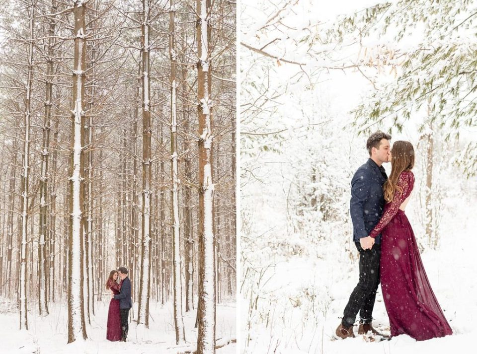 winter engagement session in the forest