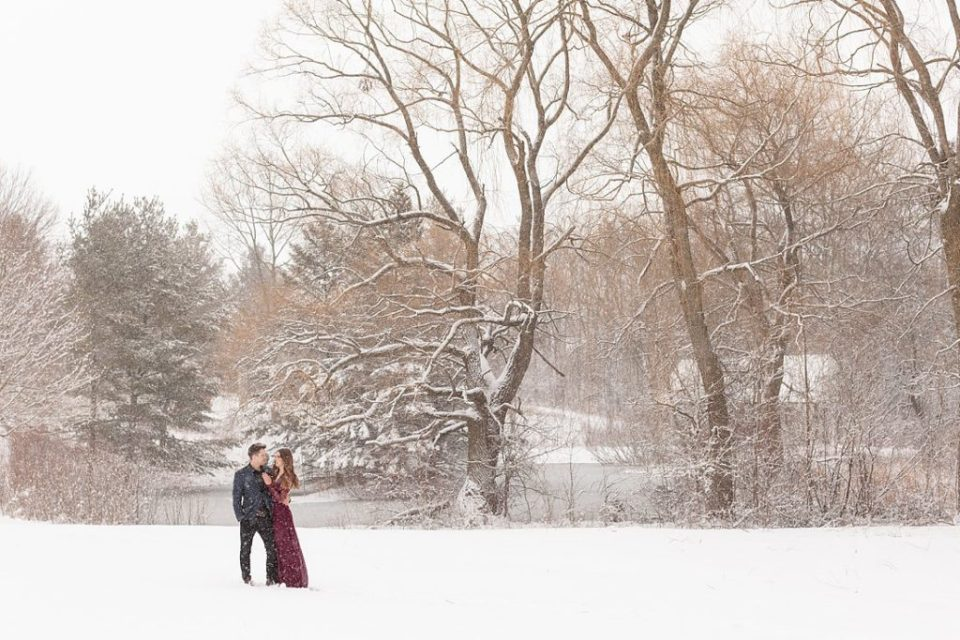 beautiful winter landscape for engagement photos at Sydenham Ridge estates