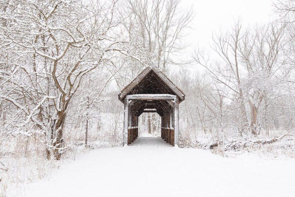 Bridge at London Ontario barn wedding venue during the winter