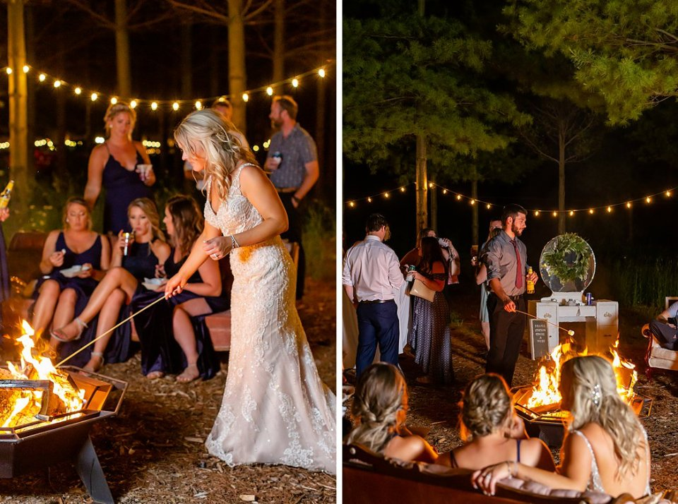 Bride roasting a marshmallow on her wedding day from their smores bar