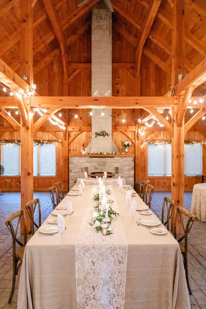 Gorgeous elegant and rustic intimate wedding reception at The Harvest Table at Arrowwood Farm